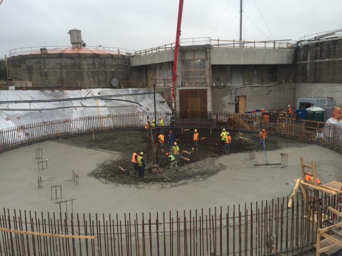 At Corbett Creek, ORM poured 1500m3 of concrete for the creek digester facilities upgrade in Whitby