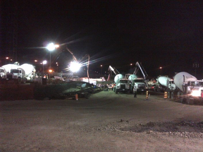 ORM massive concrete pour at night for the Toronto York Spadina subway extension
