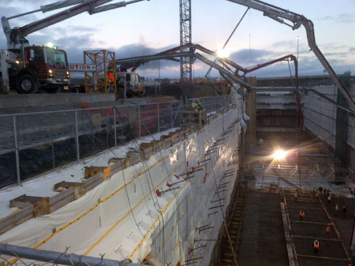 At the Toronto-York Spadina subway extension, ORM provided concrete for the shaft